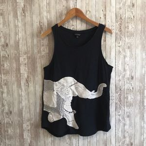 Lucky Brand navy blue embroidered elephant tank